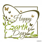 Happy Earth Day. 22 th April. Typographic design. Black and gold Earth Day lettering card. Vector illustration isolated on white background 64239