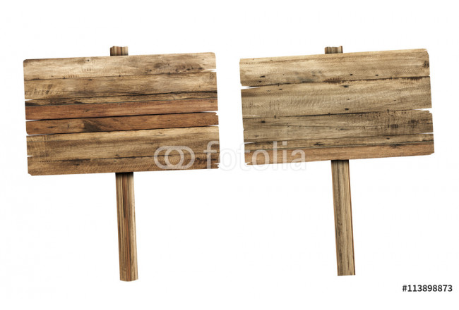 Wooden sign isolated on white. Wood old planks sign. 64239