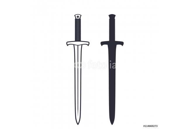 medieval sword isolated on white, vector illustration 64239