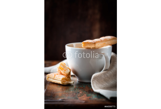 Cup of coffee with french pastries 64239
