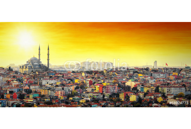 Quadro contemporaneo Istanbul Mosque with colorful residential area in sunset 64239