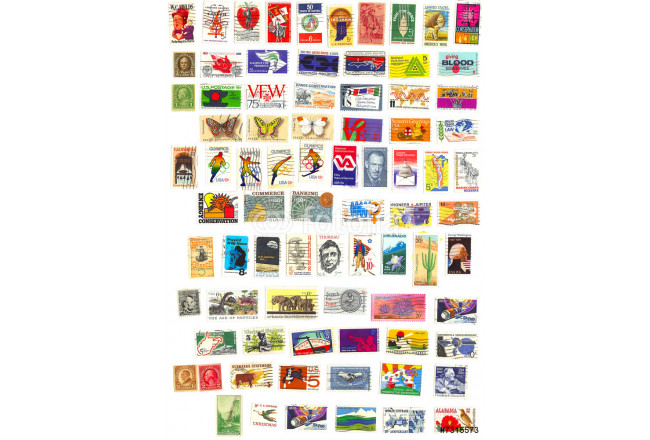 collection of 80 american vintage stamps 64239