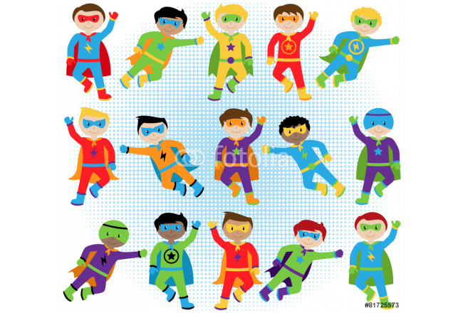 Set of Boy Superheroes in Vector Format 64239