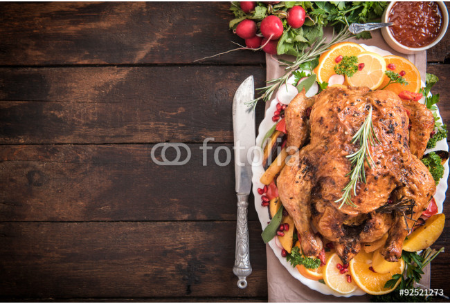 Art painting Served roasted turkey with vegetables 64239