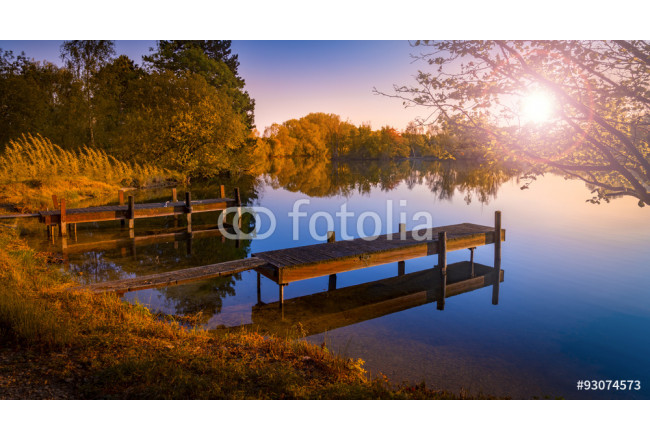Wooden Jetty on a Becalmed Lake at Sunset 64239