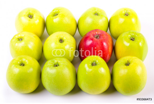 Background of green apples with one red apple 64239
