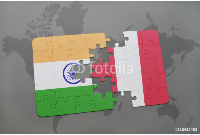 Bild auf Leinwand puzzle with the national flag of india and peru on a world map background. 64239