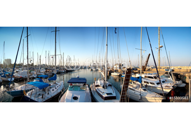 series of panoramic images from the harbor with yachts at dusk 64239