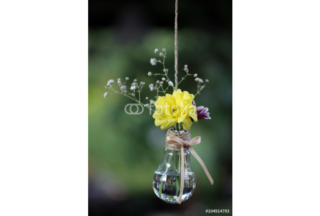 Floral decor in light bulbs hung around for the wedding ceremony 64239