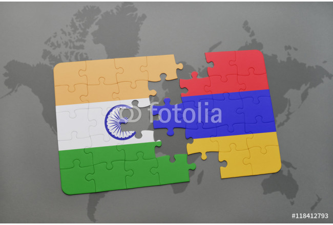Bild auf Leinwand puzzle with the national flag of india and armenia on a world map background. 64239