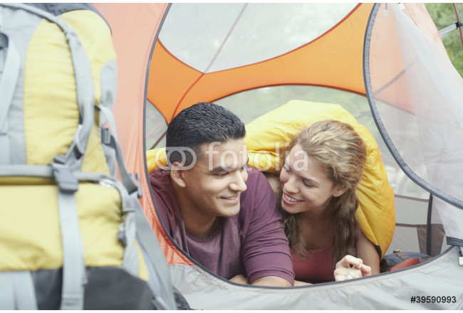 Young couple in a tent 64239