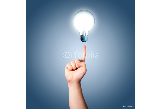 Hand pointing to Light bulb. Concept for new ideas 64239