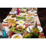 Table with various arabic food served 64239
