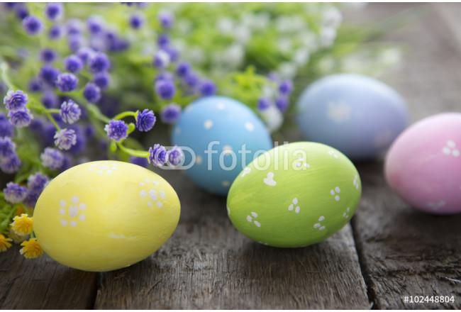 Hand-painted easter eggs with flowers 64239