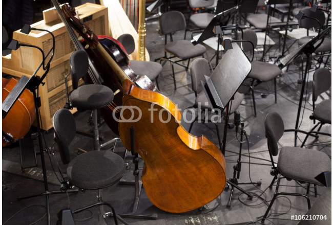 musical instruments in an orchestra during a break. 64239