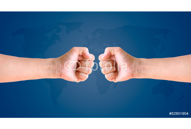 fist hand on world map background 64239