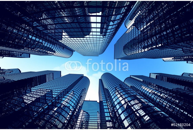 Business towers with fisheye lens effect. 64239