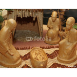 Nativity set in an village with wooden figurines 1 64239