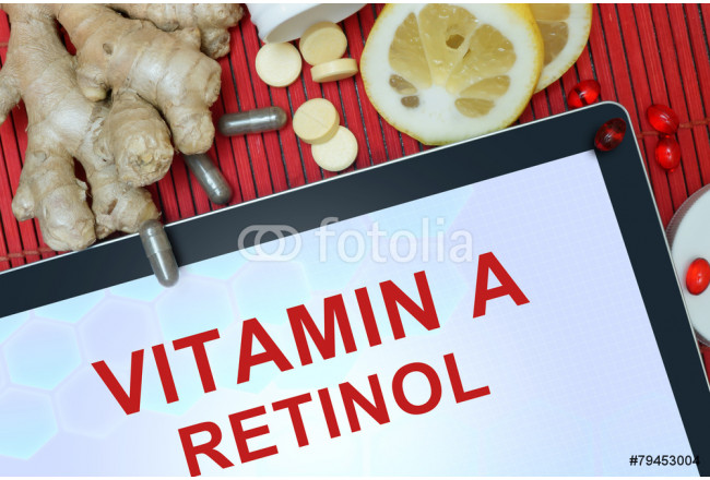 Tablet with words Retinol (vitamin A). Healthy eating. 64239