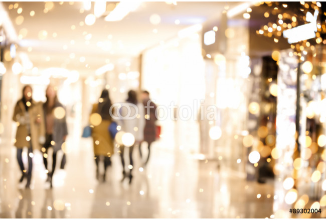 Shopping mall blur background with holiday lights 64239