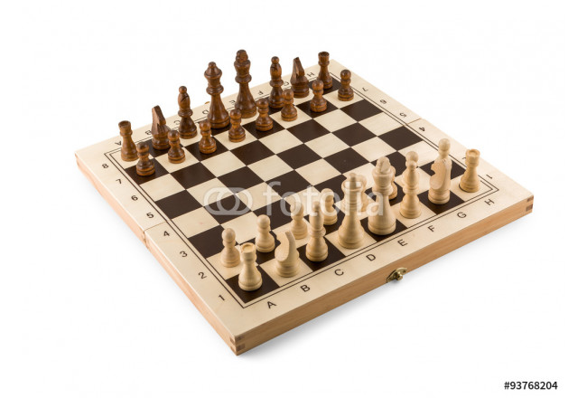 Chess board with chess wooden pieces isolated on white 64239