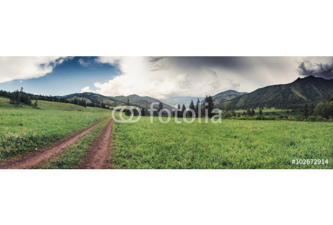 mountain landscape along a dirt trail in altai mountains 64239