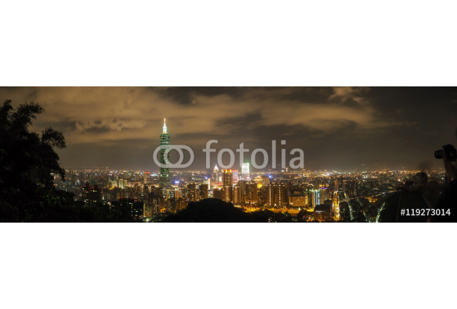 Taipei night skyline panorama, view from the Elephant mountain 64239