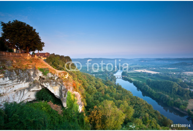 The Dordogne river at dawn from Domme, Dordogne, France. 64239