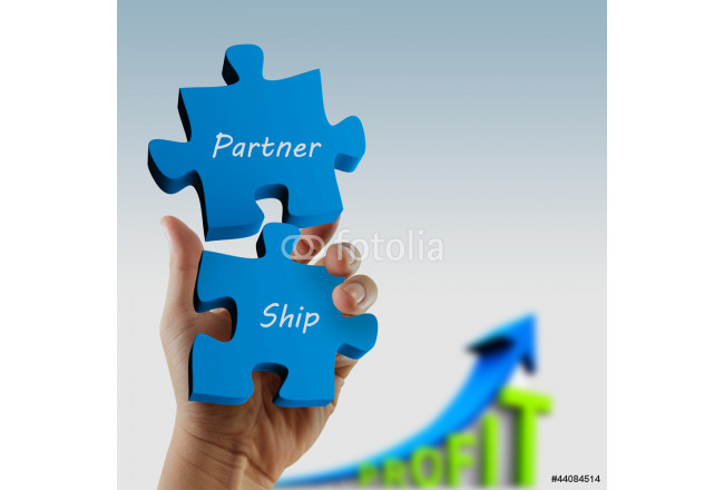 """partnership"" written puzzle pieces in hand 64239"
