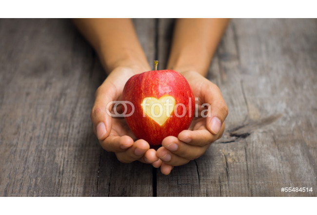 Art painting Red Apple with engraved heart 64239