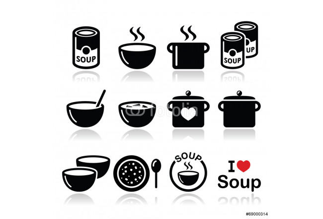 Soup in bowl, can and pot - food icon set 64239