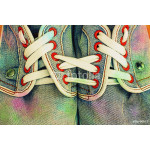 Old jeans sports shoes laced unusually 64239