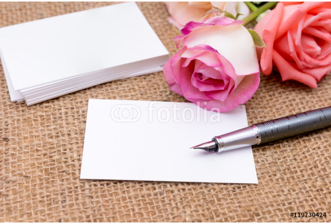 paper note with rose on gunny bag (Organizer ,agenda, book, diar 64239