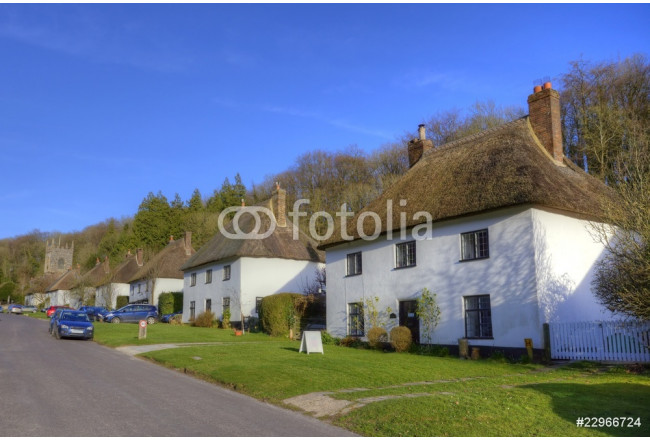 Painting Thatched roof houses in English village 64239