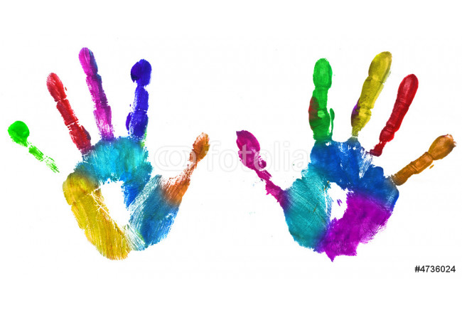Painting multicolor hands print 64239