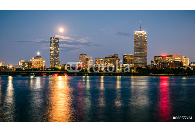 Boston skyline at night with the super moon above. 64239