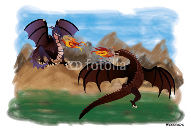 Two magical dragons, vector 64239