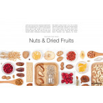 nuts and dried fruits on white background 64239