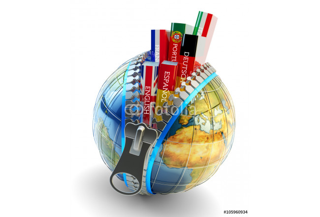 Foreign languages learning and translation concept, online translator icon, books with covers in colors of national flags of world countries inside Earth globe with zipper isolated on white 64239