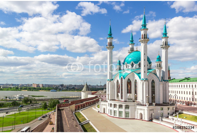 Landscape with Kazan Mosque blue sky and clouds 64239