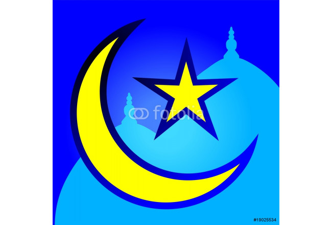 Illustration of star and moon with Arabic letters 64239