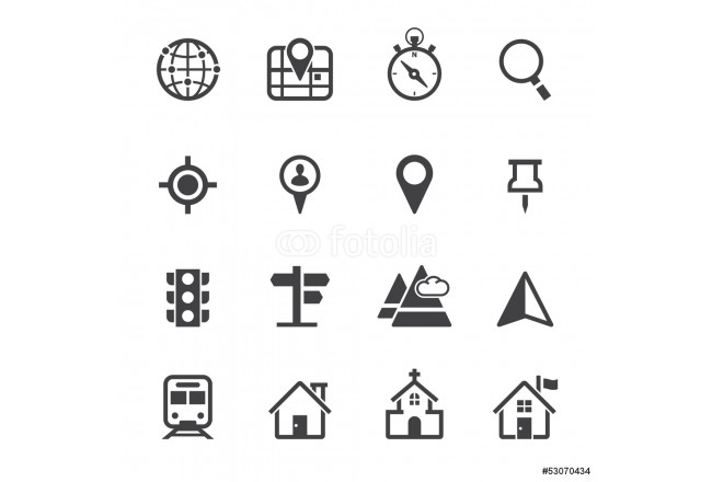 Painting Map Icons and Location Icons with White Background 64239