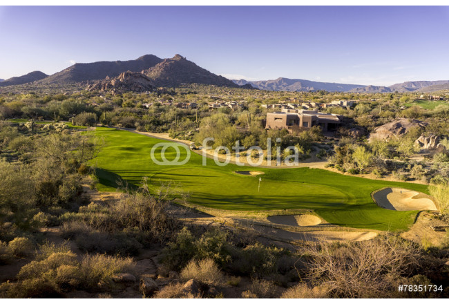 Wide angle high view point of desert golf course landscape 64239