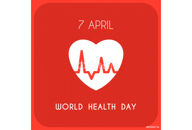World Health Day Celebrating Card. Heart with Pulse 64239