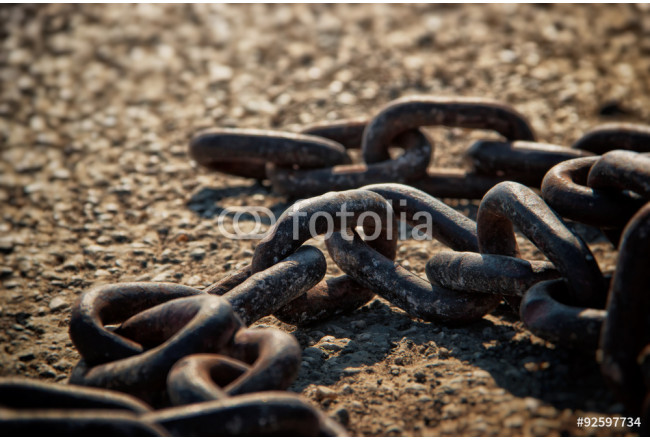 Rusty Metal Chain on Concrete Floor-Breaking Free Concept 64239