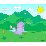 Cute chubby dragon is playing with butterfly net on blooming spr 64239