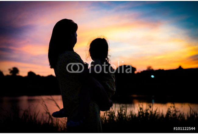 Shadow of Mother holding her daughter to see the sunset silhouet 64239