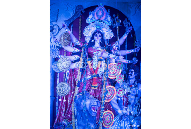 MUMBAI, INDIA - October 20, 2015: An idol of revered goddess Durga standing in the temporary temple in the city of Mumbai during Durga Puja festival celebration. 64239