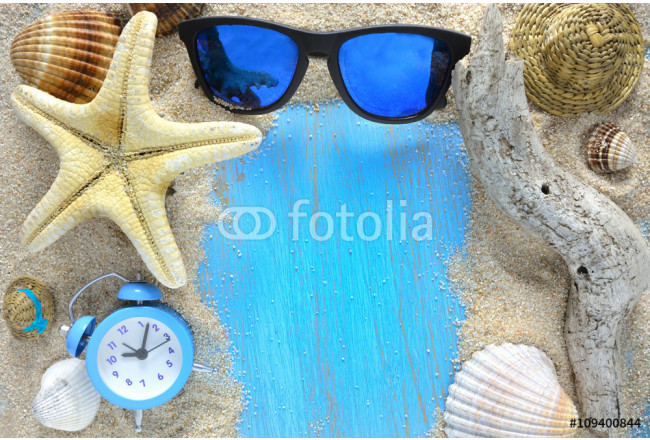 beach accessories on wooden board 64239