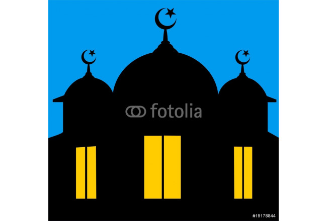 Toile déco Illustrations of a mosque in blue background 64239